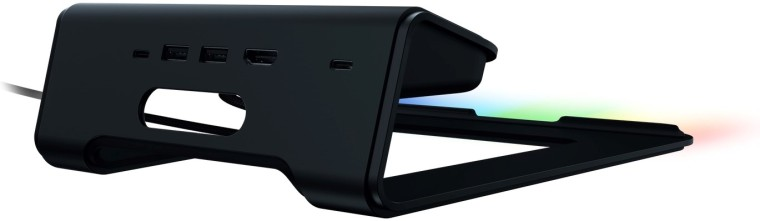Rear view of the Razer Laptop Stand Chroma V2 and its ports